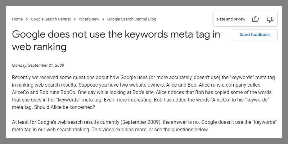 google meta keywords vs keywords in content