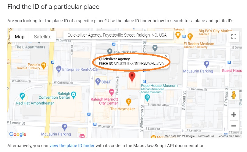 google place id code