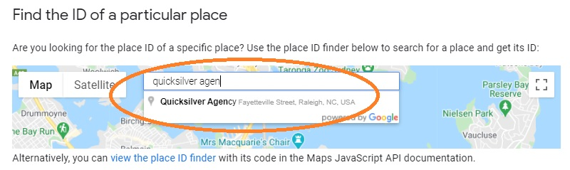 google place id location search