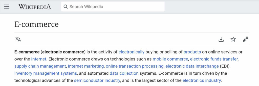 wikipedia e-commerce